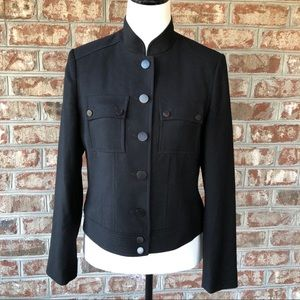 Talbots Sz 4 Black Wool Waist Jacket Coat.